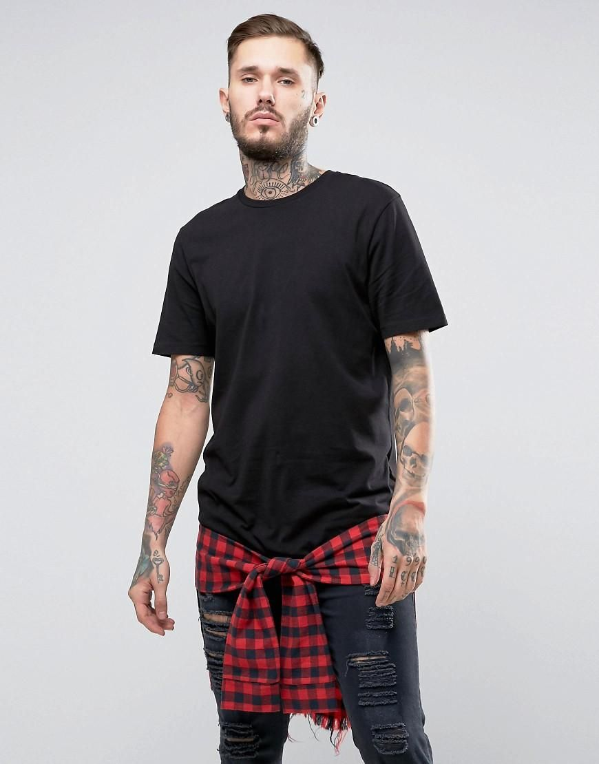 Flannel shirt tied around waist guys  ASOS  ASOS ASOS Longline TShirt With Check Hem Extender And Mock