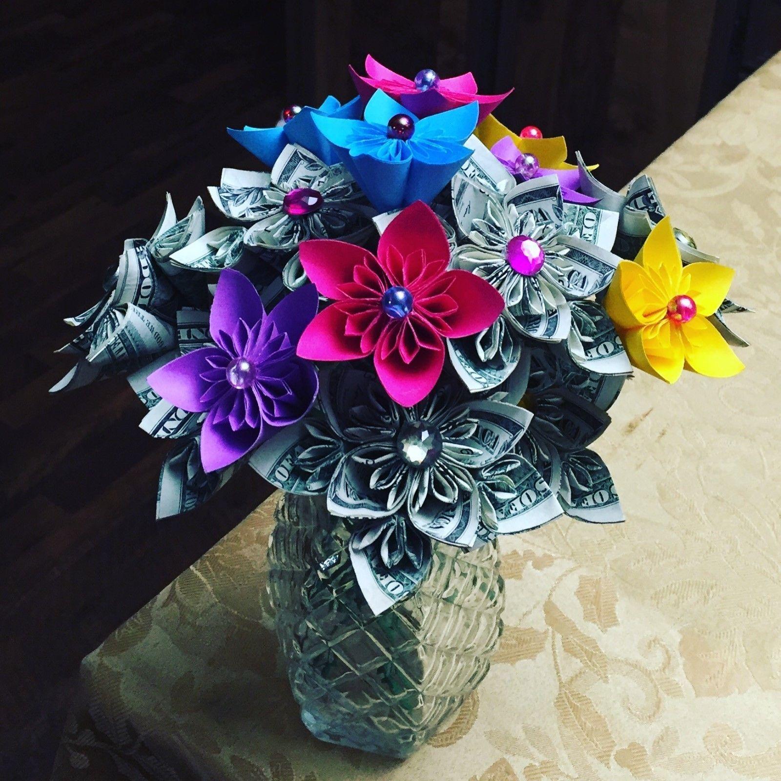 Cool Cash Origami Flower Bouquet Present Decor Anniversary Valentine