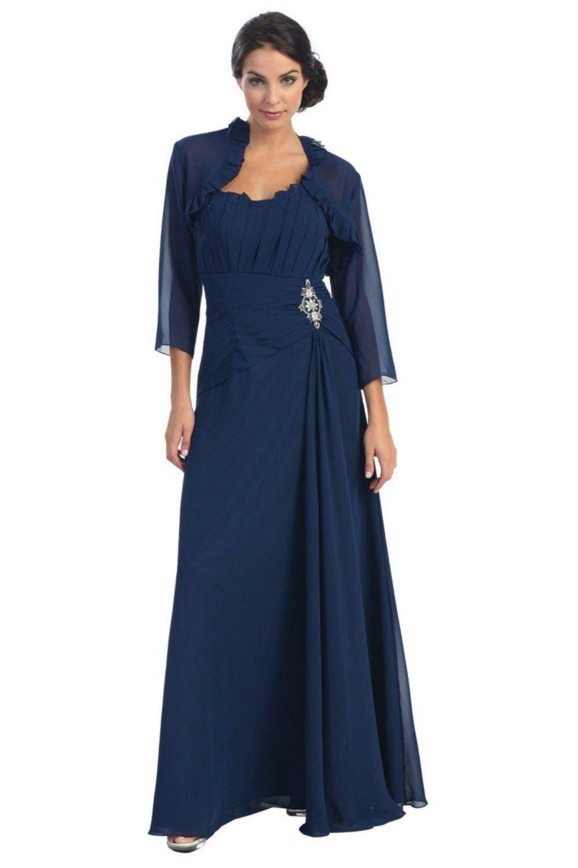 Dunkelblaue Jacke Plus Größe lange Kleid bescheiden einfach Mutter ...