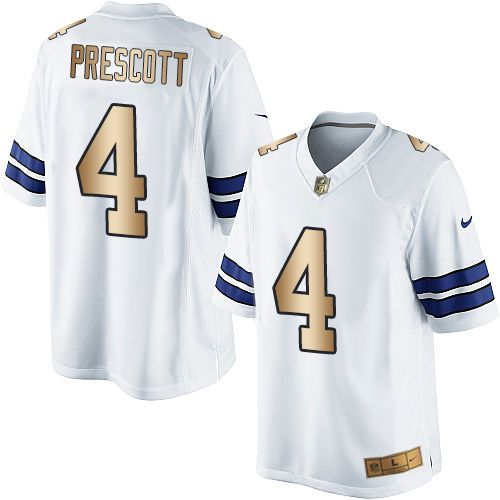 396058df7 Nike Dallas Cowboys Men s  4 Dak Prescott Limited White Gold Road NFL Jersey