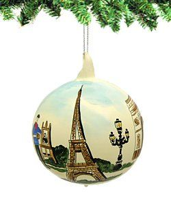 Glass Ball Paris Christmas Ornament Hand Painted Eiffel Tower, Arc ...