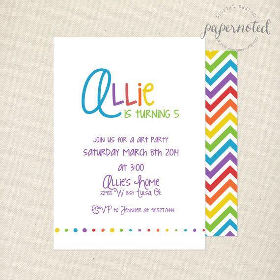 Items Similar To Art Party Birthday Invitation Kids Rainbow DIY Printables On Etsy