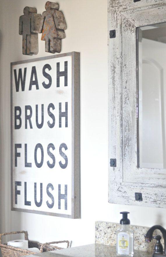 Photo of Wash Brush Floss Flush framed wood sign for bathroom