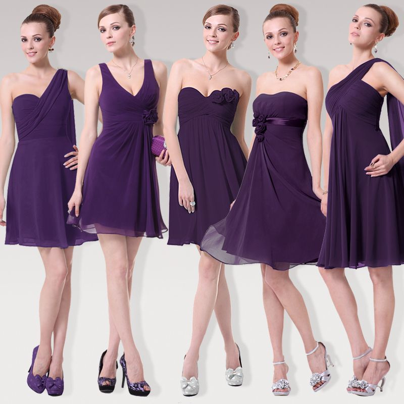 Pretty girl Purple Chiffon bridesmaid dress sisters dress short ...