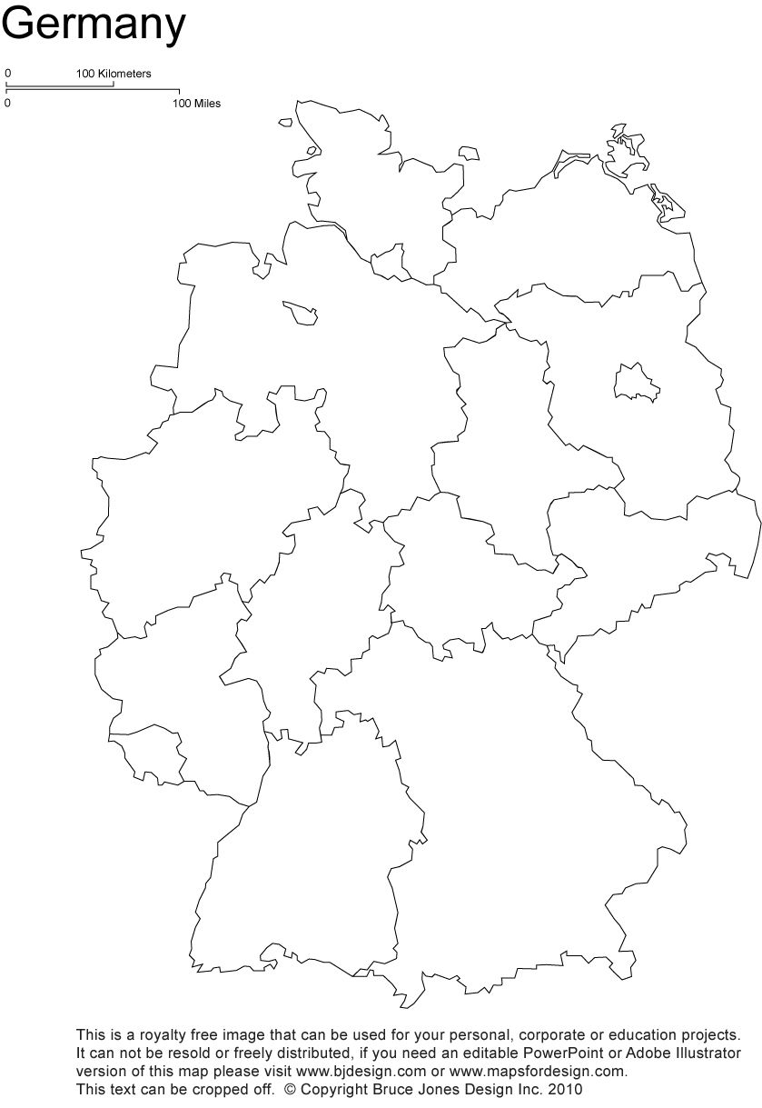 Germany Printable, Blank Maps, Outline Maps • Royalty Free