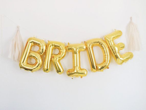 bride letter balloons gold or silver foil mylar letters engagement bachelorette balloon banner kit with tassels