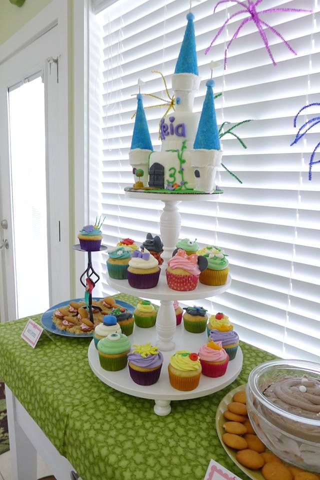Dessert table setup for a Disney World themed birthday party