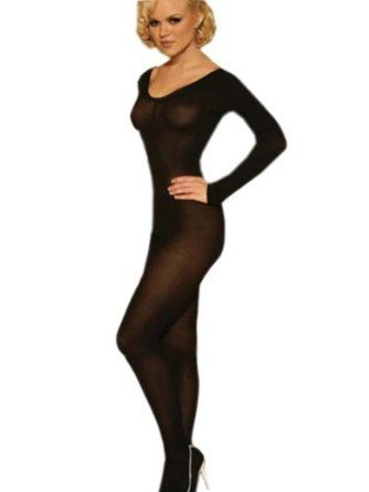 bcb5d632097 Black or Nude Sheer Long Sleeve Bodystocking Open Crotch Bodysuit Color