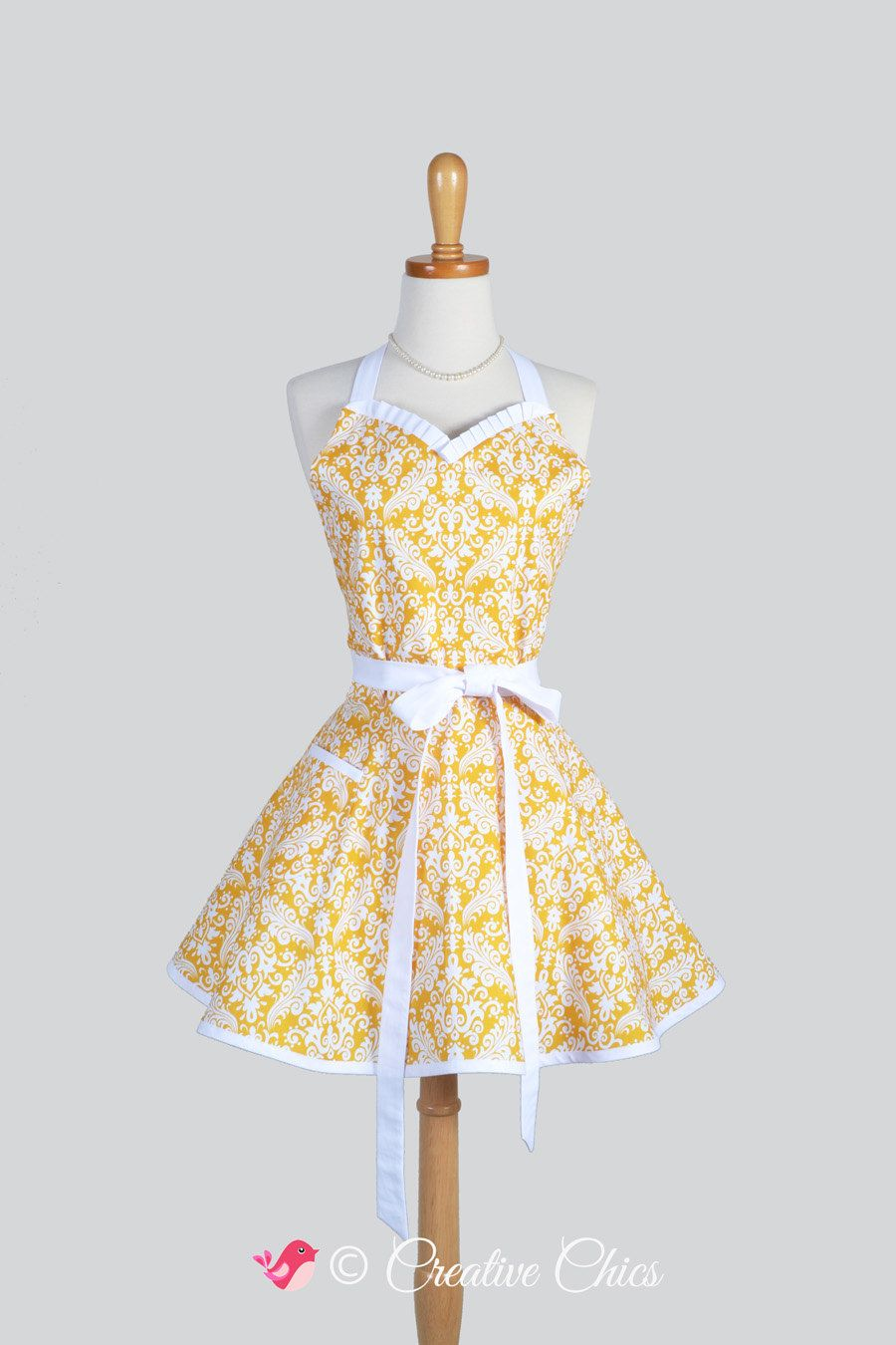 White apron meals - Sweetheart Retro Apron Retro Cute Womens Apron Feminine And Flirty In Yellow And White Damask