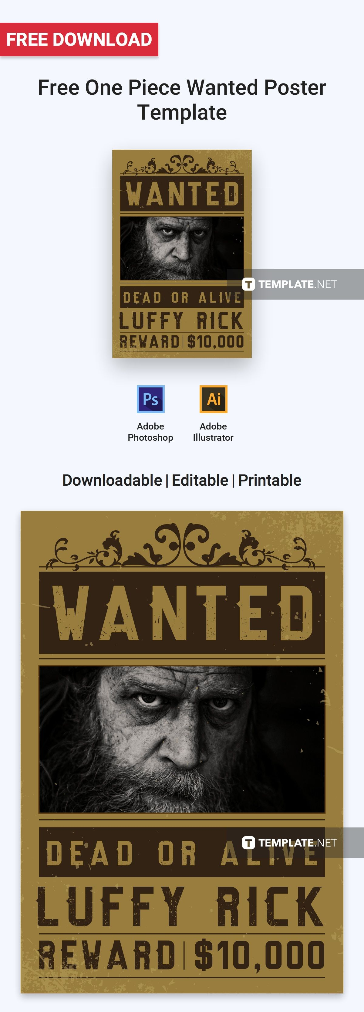 free one piece wanted poster poster templates designs 2019