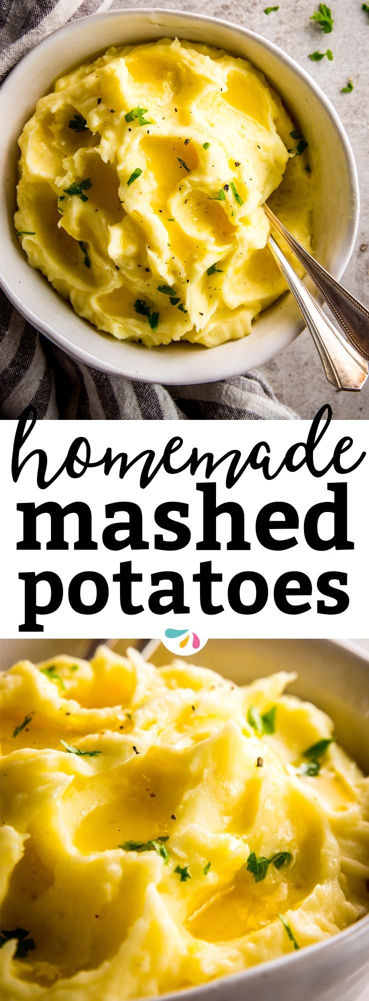 You want to serve up a steaming bowl of creamy, fluffy, buttery mashed potatoes... And I have all the tips and secrets for you to make it happen. No matter if it's for Thanksgiving, for Christmas or just because mash is so darn good... This homemade recipe is easy, creamy, quick and simply perfect as a side dish for any special dinner. | #comfortfood #recipes #thanksgiving #thanksgivingrecipes #sidedish #vegetarian #christmas #holidays #holidayfood