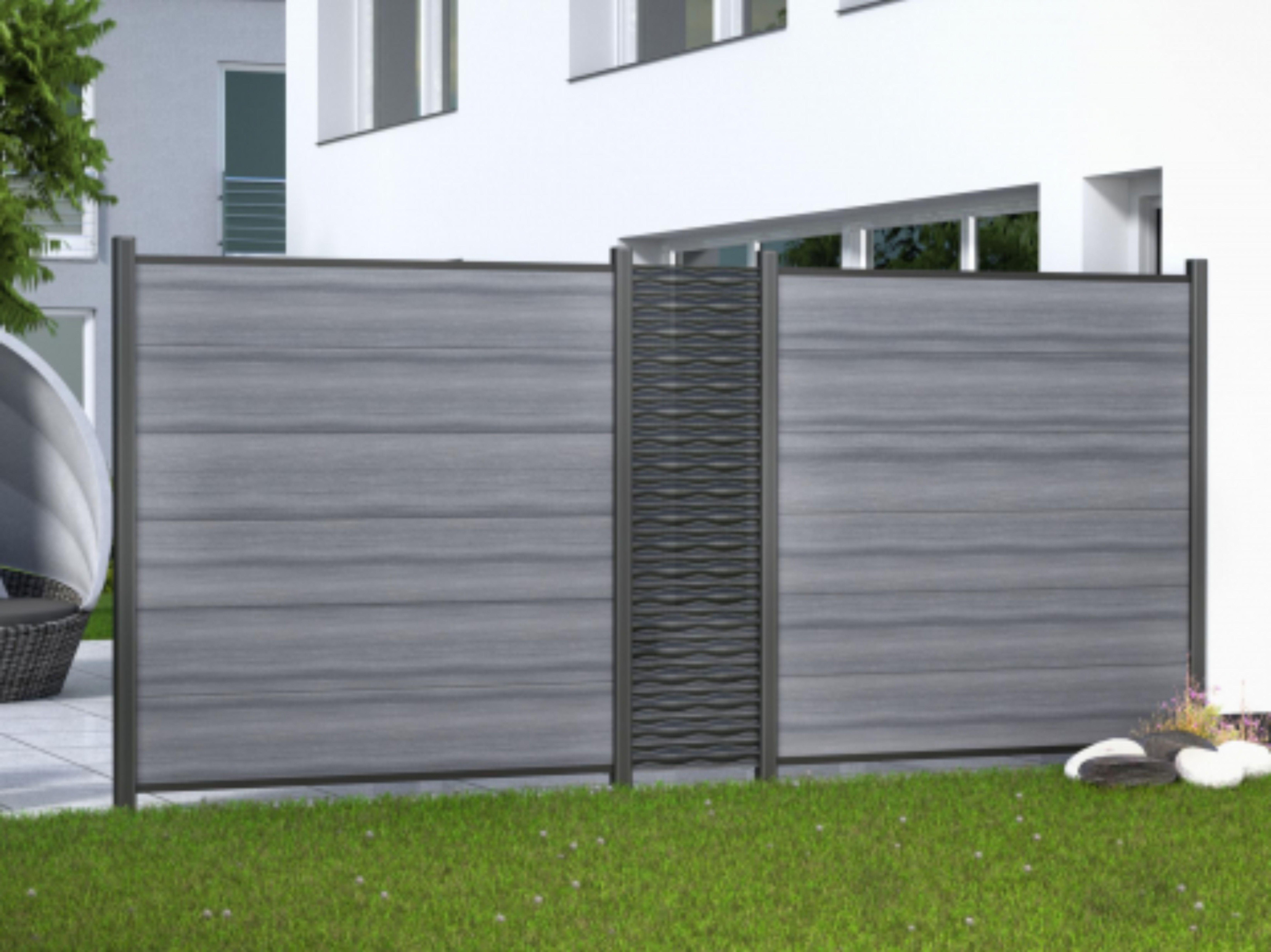 System Wpc Platinum Mit Dekorprofilen Sichtschutzwande Wpc Zaun Dekor