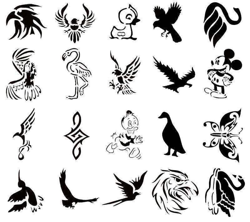 Bird Henna Tattoo Designs: Self-Adhesive Reusable Temporary Tattoo Booklet#52 20 Bird