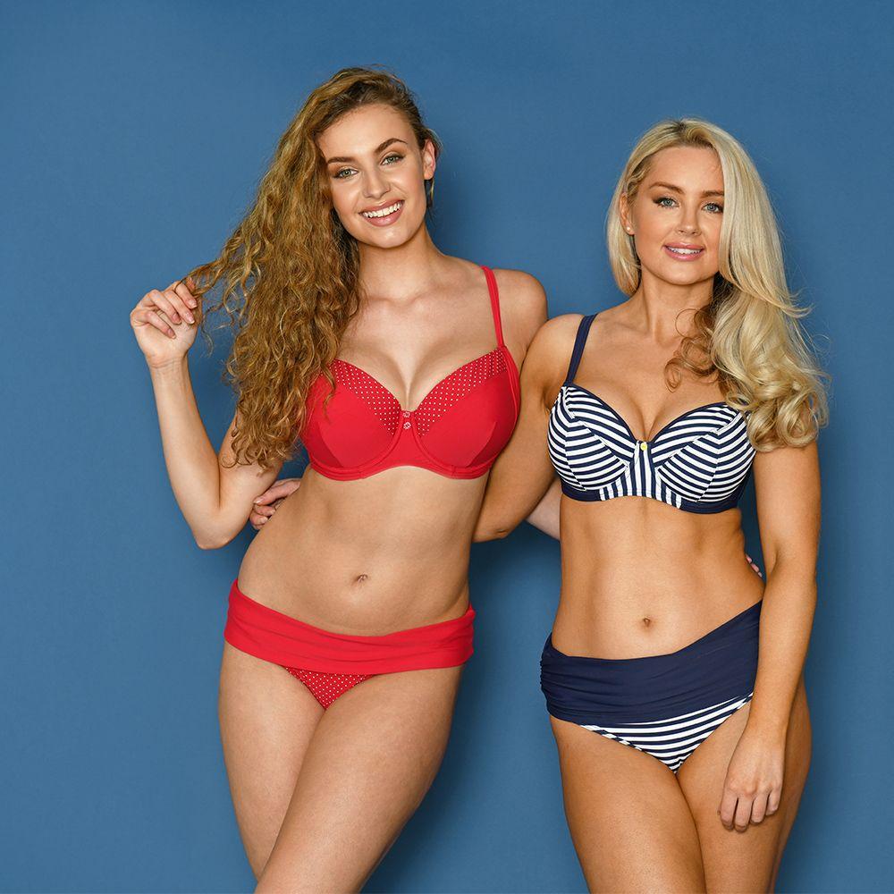 661a646041 Flirtelle Audrey Bikini Red Polka Dot and Flirtelle Riviera Bikini Navy  Stripe