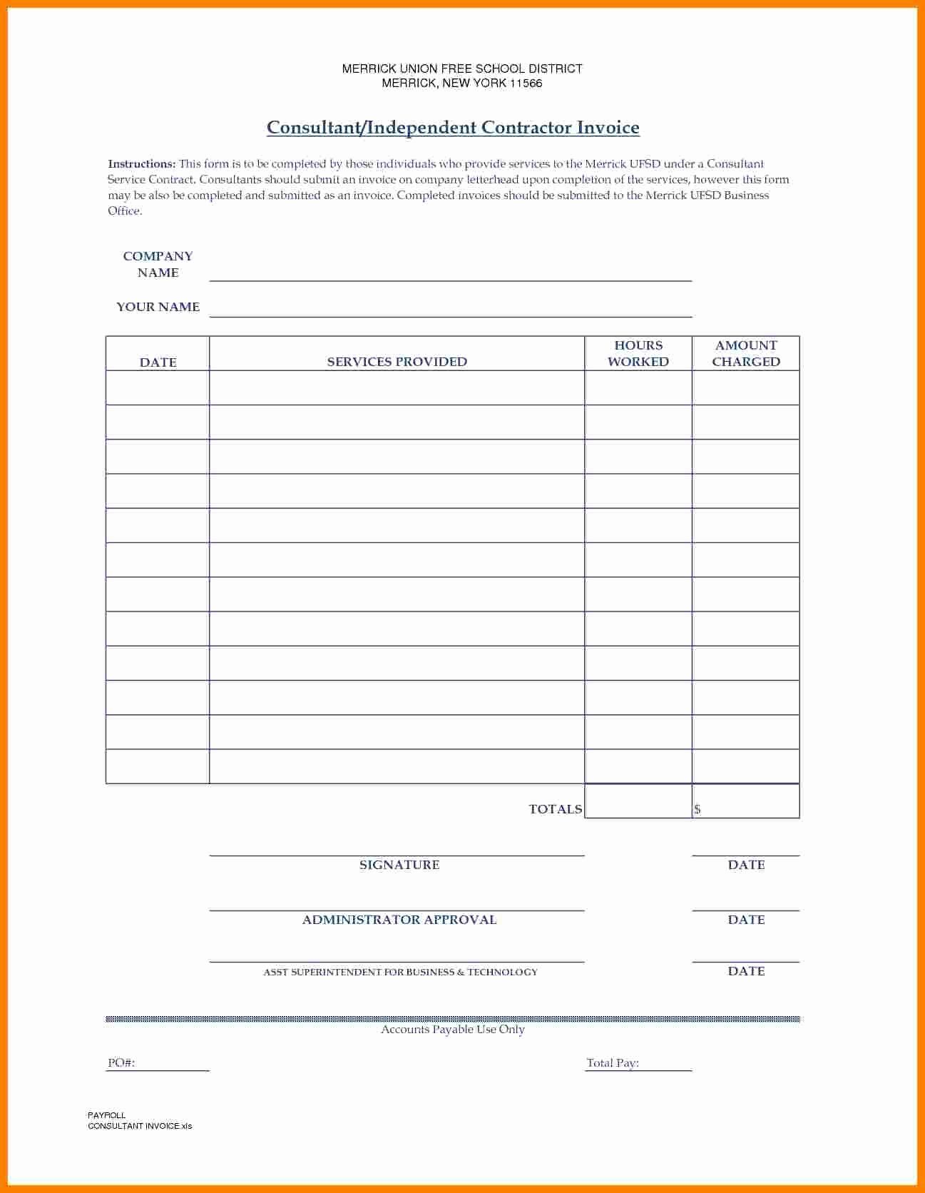 Independent Contractor Invoice Template Free Beautiful 7 Independent Contractor Invoice Invoice Template Estimate Template Excel Budget Template
