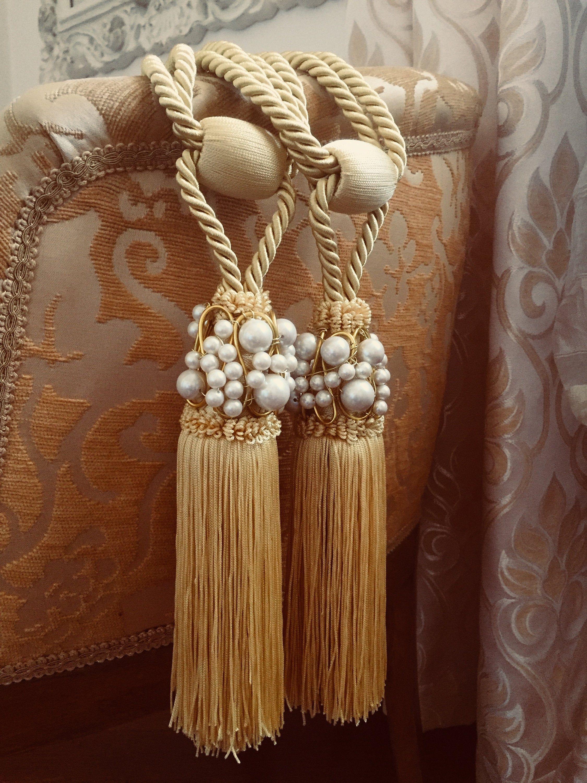 Set Of 2 Chanel Inspired Yellow Gold Tassel Tiebacks Drapery
