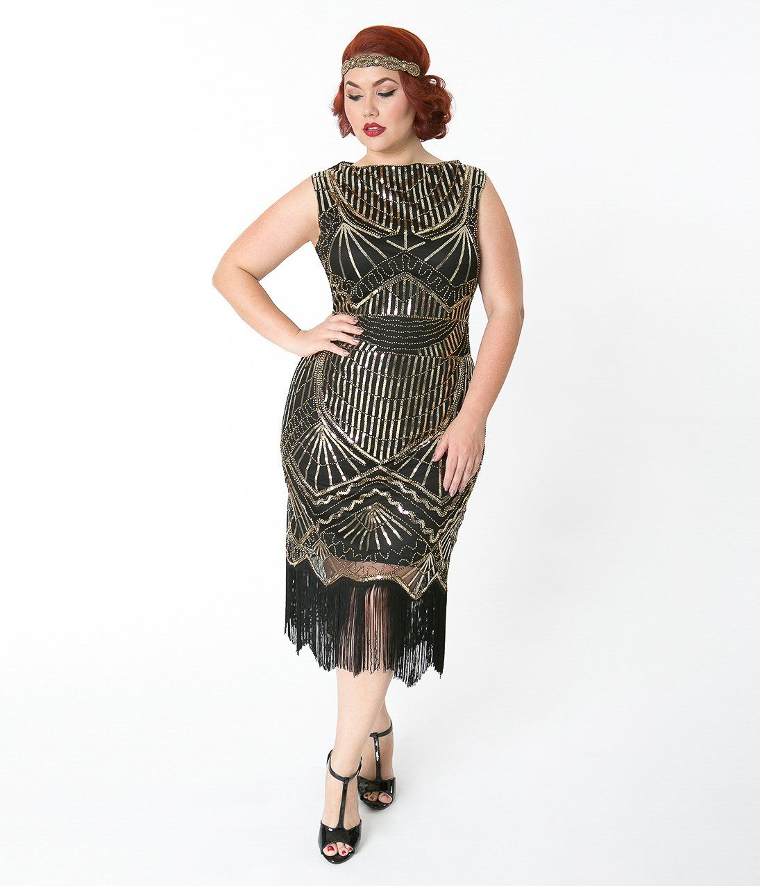 Plus size black u gold sequin therese long flapper dress party