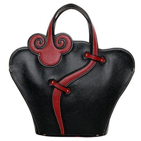 Ethnic Style Women's Tote Bag With PU Leather and Zip Design