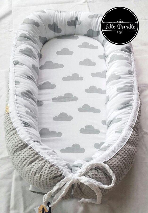 Photo of Babynest Wolke & Waffel hellgrau (verschiedene Farben des Waffelpiques sind …