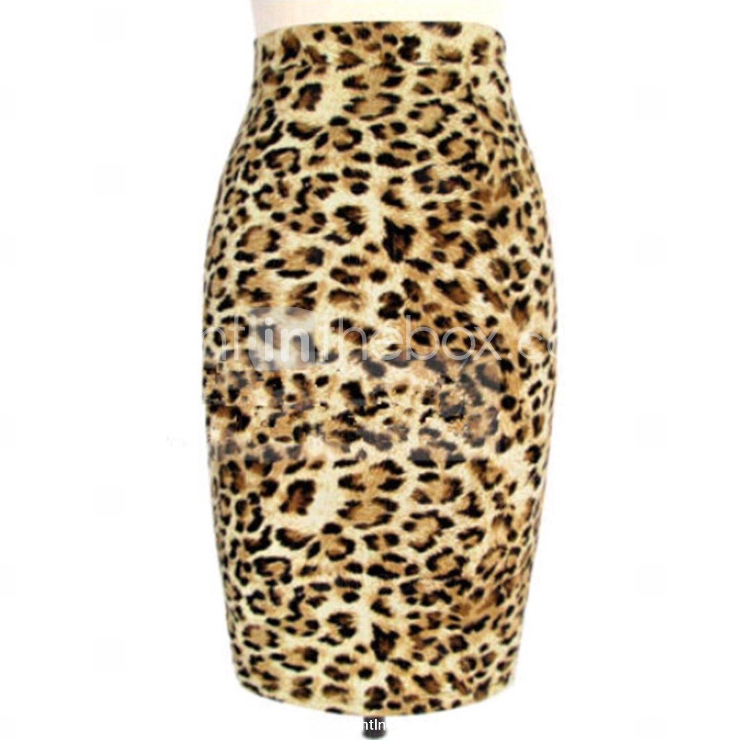 68c6b49a16e57 Women's Animal Print Celebrity Leopard Stretch High Waist Zip Cocktail Bodycon  Pencil Skirt - USD $ 16.79