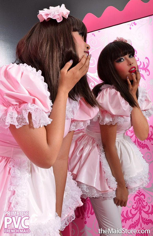 adult baby sissy pink satin apron fancydress cosplay vintage french maid pinny
