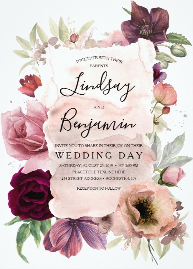 Earthy Tones Burgundy Floral Vintage Wedding Invitation | Zazzle.com