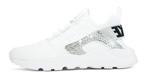 0a7233b302c75 Nike Air Huarache Ultra + Hand Customized Swarovski Crystals (Side) - White