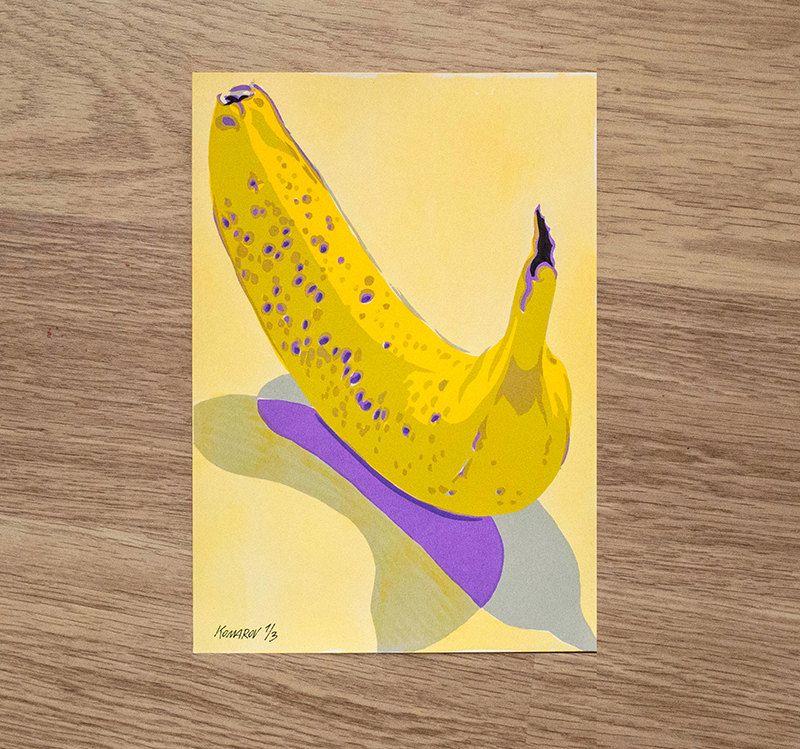 Bananas still life serigraph screenprint original art exotic fresh ...