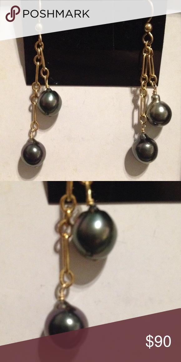 New Dangle Pearl Earrings Brand New never used. Dangle style earrings. Pearl with 14K gold. Kula Kala O Kauai Jewelry Earrings