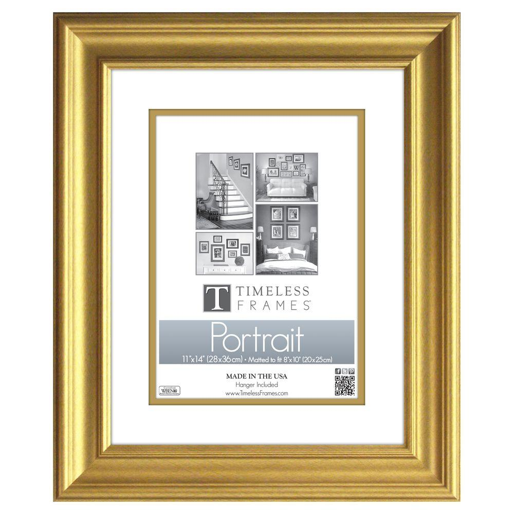 Timeless Frames Lauren 1 Opening 11 In X 14 In Gold Matted Picture Frame 51025 Portrait Frame Portrait Wall Photo Frame Wall