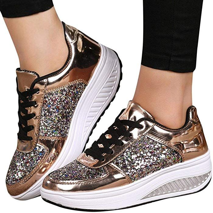 436b71346 Amazon.com: Sneakers For Women,Clearance Sale!!Farjing Wedges Sneakers  Sequins Shake Shoes Fashion Girls Sport Shoes(US:8,Gold): Clothing