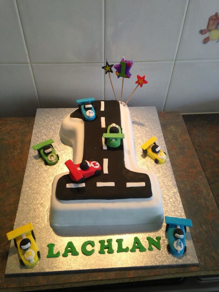 Lachlan\'s first birthday cake. Cars made from Gumpaste. | Amanda\'s ...