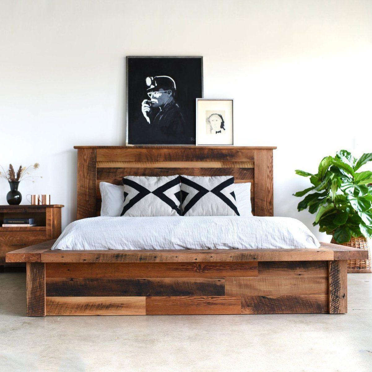 Reclaimed Wood Platform Bed Wood Platform Bed Raised Platform Bed Wooden Platform Bed