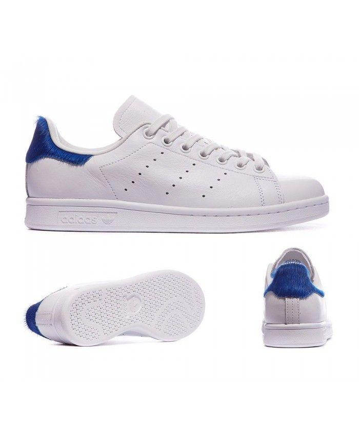 new product b8dcd 162ac Adidas Originals Stan Smith Poils De Poney Blanche Et Bleu Put on very  comfortable, very texture.