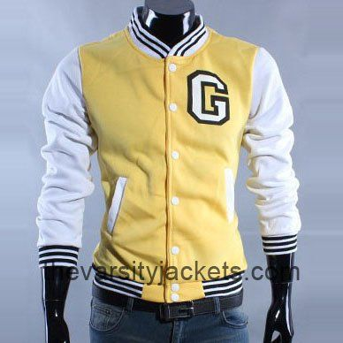 Men's Yellow Letter G Varsity Cotton Baseball Jacket Hot Sale ...