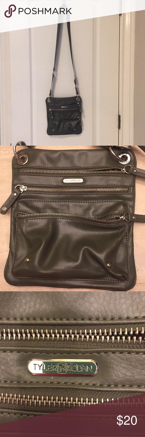 Tyler Rodan Crossbody Bag Olive Green Multiple Zippered Pockets Very Lightweight Excellent Condition Bags