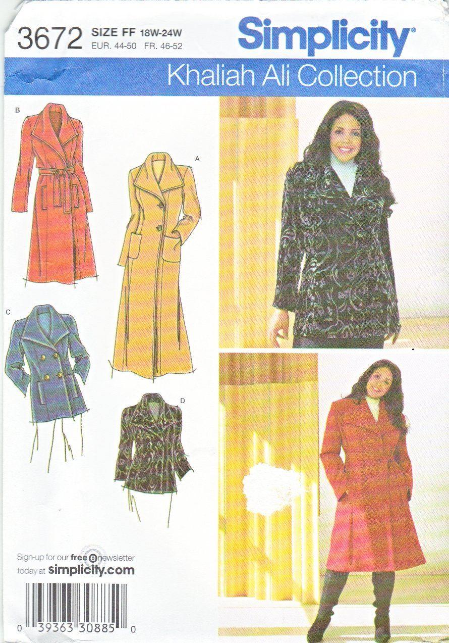 Simplicity Sewing Pattern 3672 Womans Plus Size 18w 24w Khaliah