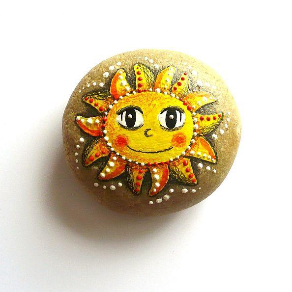 Kamínek+-+Sluníčkatý+tečkovatý Steine bemalen Steine