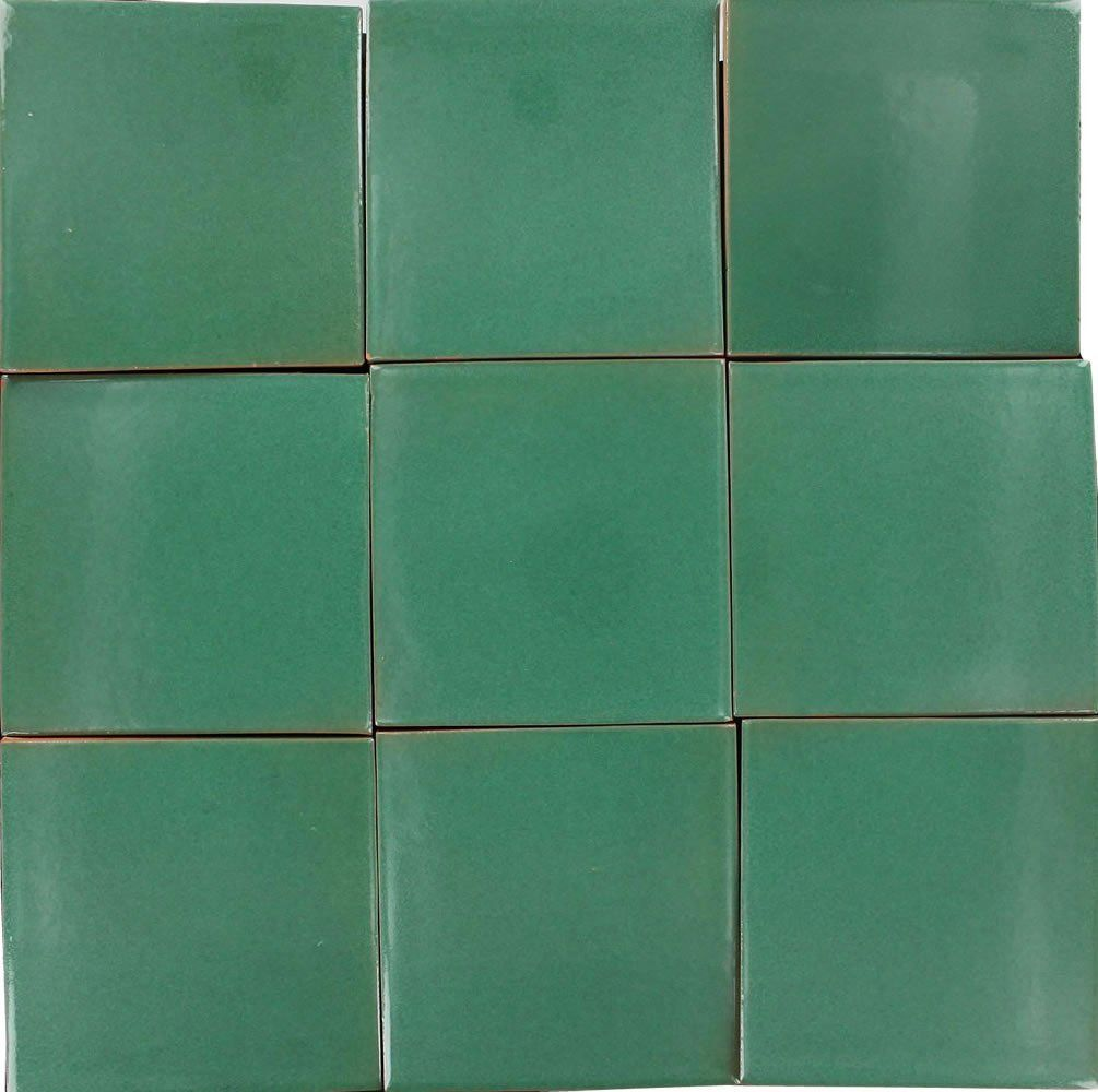 Box of 9 - 4¼ x 4¼ Green - Talavera Mexican Ceramic Tiles