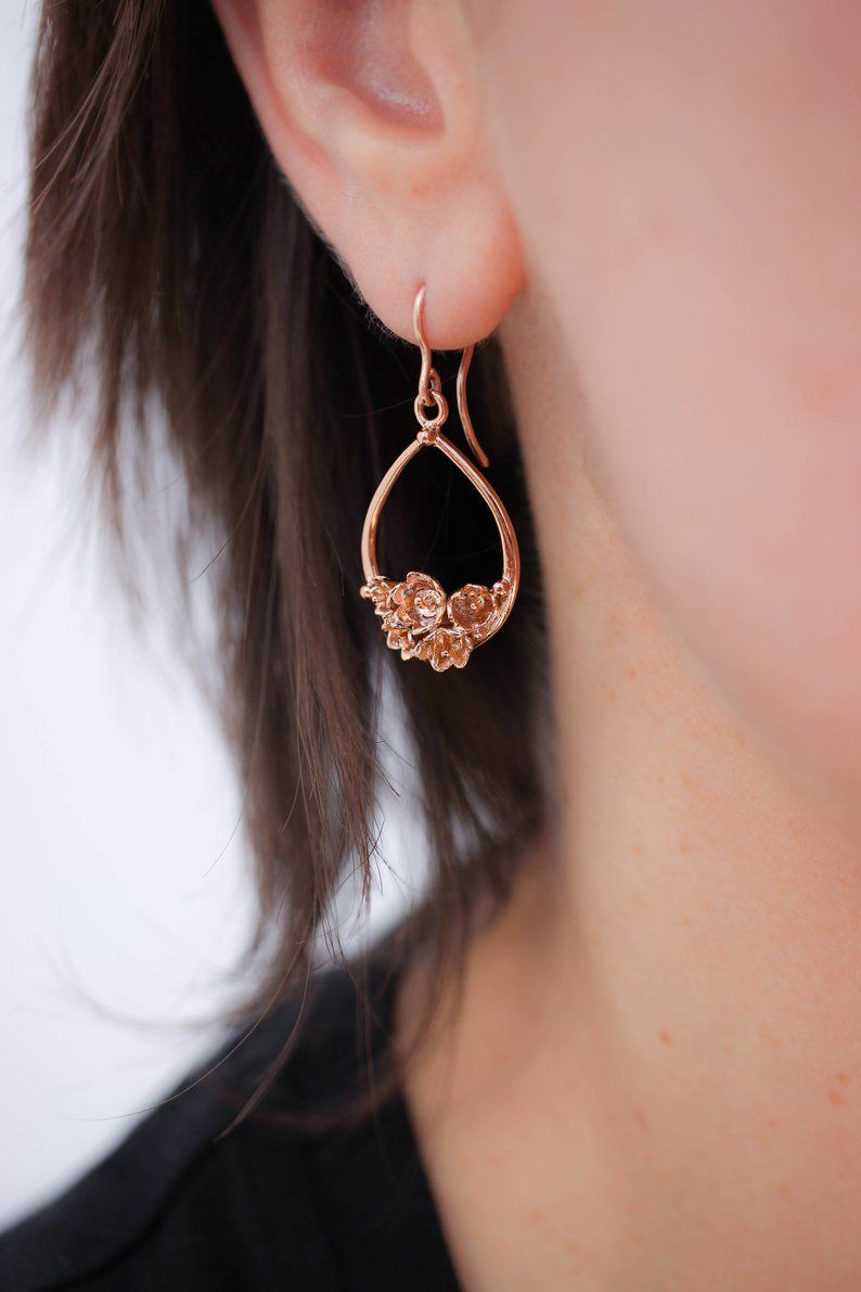 Rose Gold Flower Earrings Lily Of The Valley Earrings Bridal