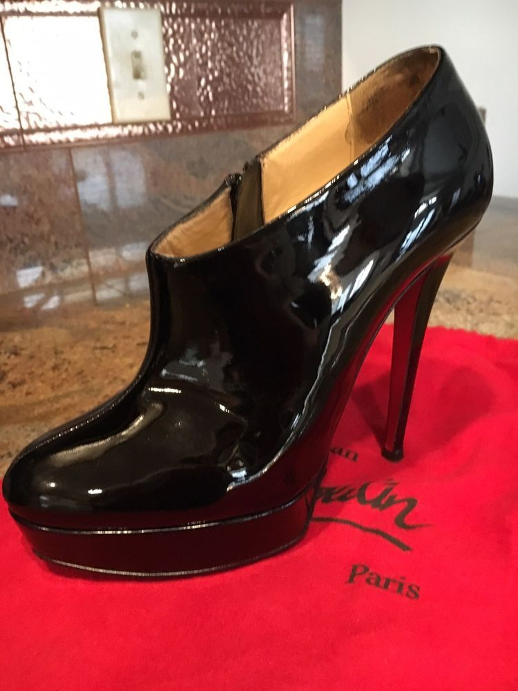 87f4478b7ee ENDING SOON  Christian Louboutin 39 Booties Moulage Black Patent Leather   shoes  designer