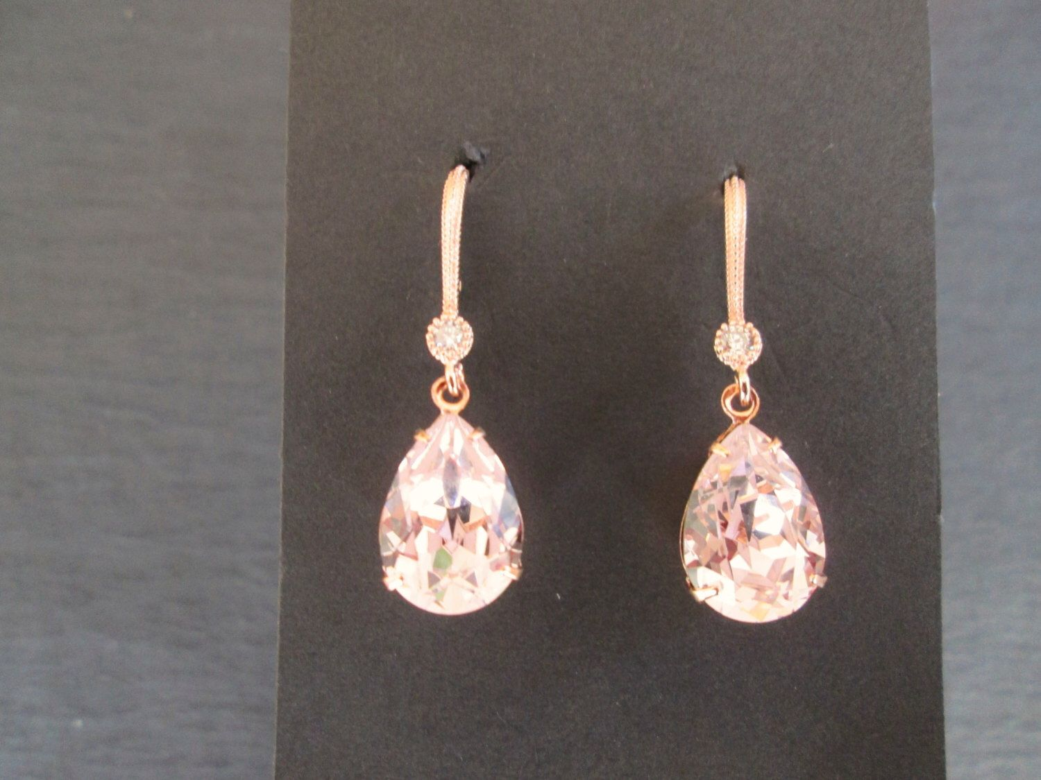 NEW Rose Gold Swarovski Earrings/ Rosaline Pink Bridesmaid Jewelry/ Wedding Jewelry/ Pink Crystal Earrings/Rose Gold Earrings/Blush Earrings by KVEdesigns on Etsy https://www.etsy.com/listing/232044295/new-rose-gold-swarovski-earrings
