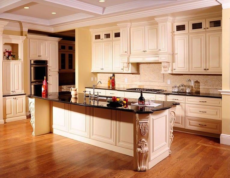 Cream Maple Glaze Kitchen Cabinet Set Prefab Kitchen Cabinets