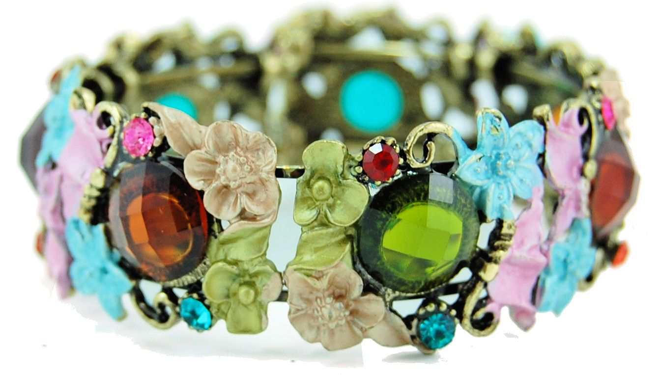 colored stone and flower bracelet