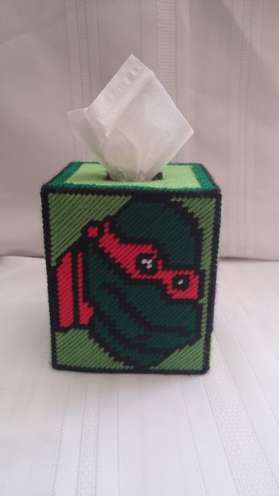 Ninja Turtles Tissue Box Cover in Plastic Canvas by paulieshoppe ...