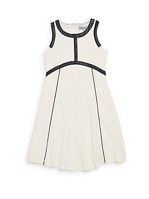 Elisa B. Girl's Piped Mixed-Media Dress - Ivory - Size 7
