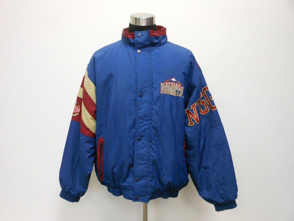 Vtg 90s Starter Denver Nuggets Zip Up Jacket Coat Parka XL