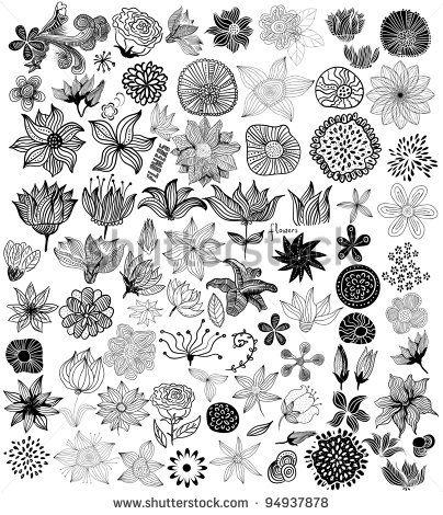 Set of black flowers