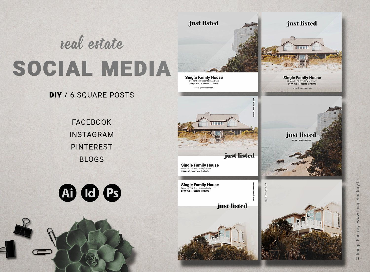 Real Estate Social Medium Instagram Template Realtor Etsy Social Media Graphics Social Media Post Social Media