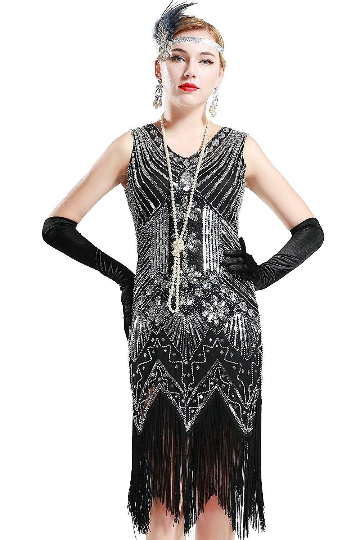 Women S Flapper Dresses 1920s V Neck Beaded Fringed Great Gatsby Dress Black Ce12iowe24r 1920s Flapper Dress Flapper Dress Great Gatsby Dresses